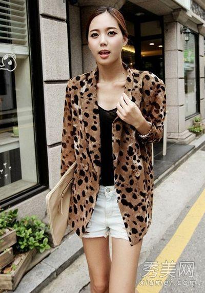 野性的豹纹图案西装外套