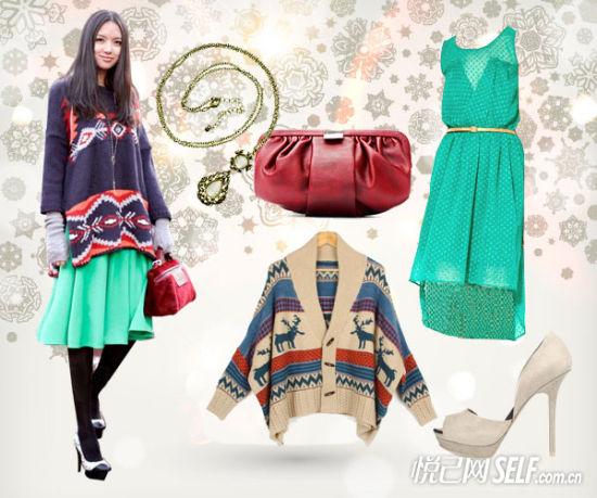 张梓琳ZARA雪纺绿色长裙搭配H&M宽松毛衣开衫