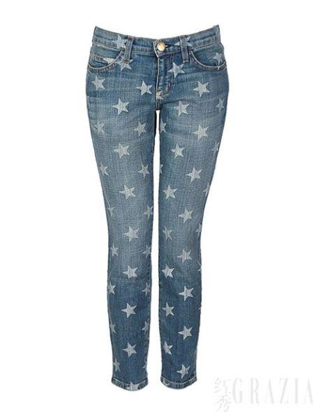 Current /Elliott做旧款星星牛仔裤,$228