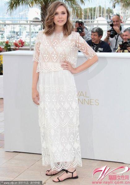 白色渐层透视蕾丝礼裙