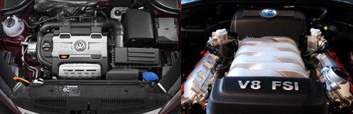 左:大众TSI发动机,右:大众V8 FSI发动机