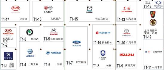 2010重庆车展1号馆展位图