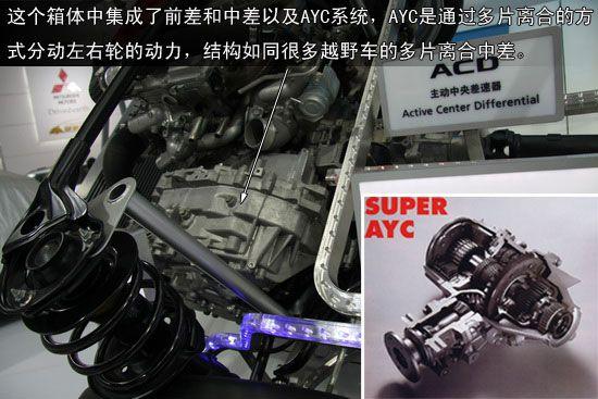 AYC前差和中差位于变速箱旁边