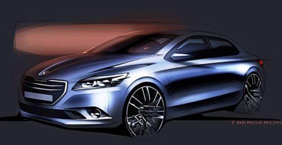 标致301的概念车设计草图,硬朗的线条是最显著的特征。