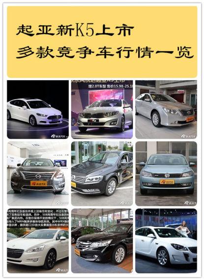 起亚新K5上市 多款竞争车行情一览