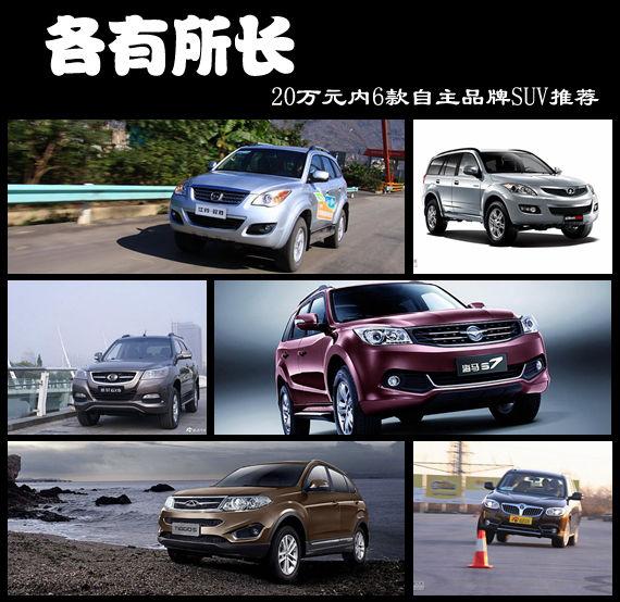 各有所长 20万元内6款自主品牌SUV推荐