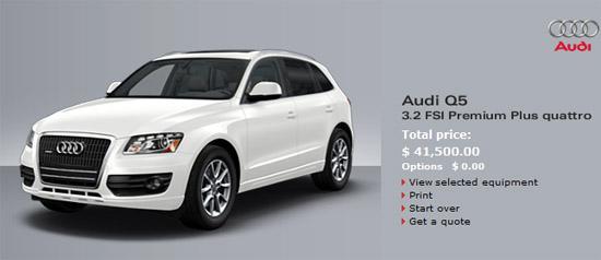 图12:美国市场上,采用主流配置的3.2 FSI奥迪Q5四驱车型的售价为41500美元(约人民币28.3万元)。