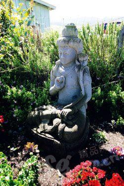在花园里,偶然看到来自东方的佛像。
