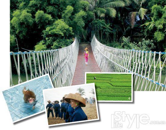1. 海南茂盛的热带雨林不亚于东南亚的,行走其间,尽享热带风情。 2. 许多酒店就在大自然中,猴子也忍不住跳进泳池游个痛快。 3. 海南人传统装束,在一些古村镇、古盐田见到,以为回到了过去。 4. 一望无际的稻田美景,不过这可不是在巴厘岛,而是在海南。
