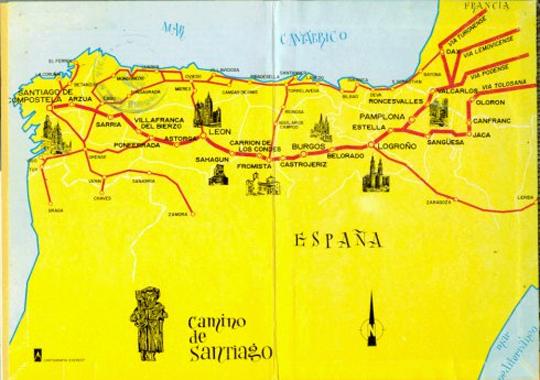 西班牙朝圣之路的地图