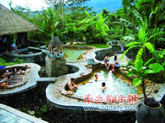 独特的温泉池。