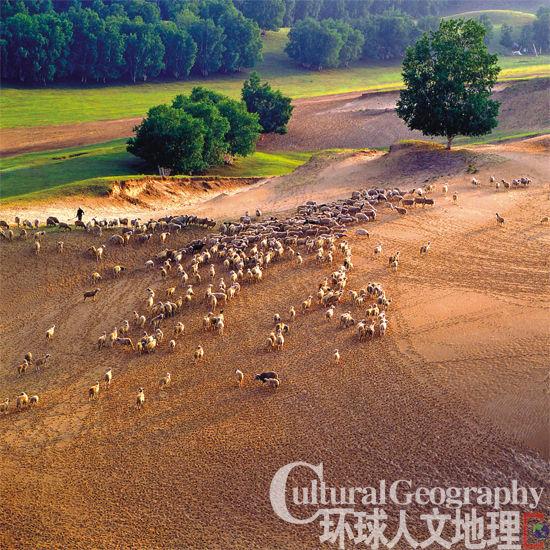 牧人驱犊返 猎马带禽归