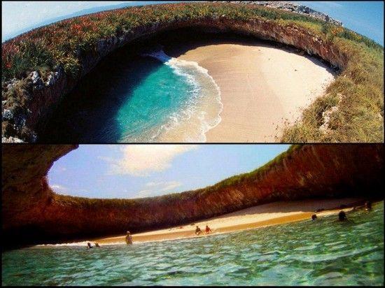 墨西哥Marieta群岛的地下海滩