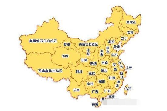中国各省市分布图