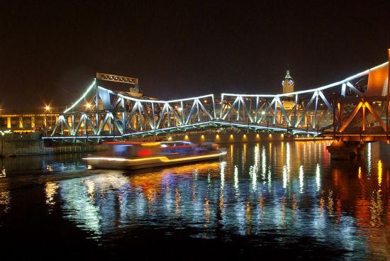 游船经过时,解放桥正在开启。(来源:网络)