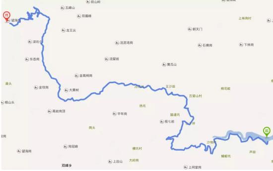 从溪口镇出发,往亭下湖方向,过董村古村落,往葛竹,晦溪村,一直到