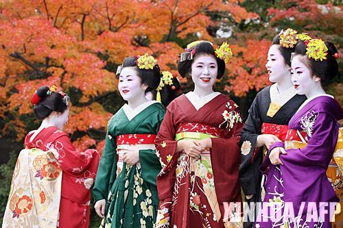 资料图:艺伎们在日本京都欣赏红枫叶