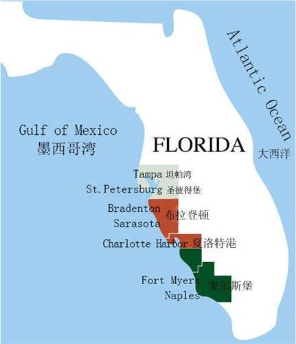 佛罗里达西海岸地图