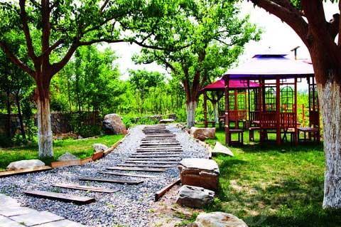 东山贡梨生态山庄的休息亭和像铁轨似的木栈道