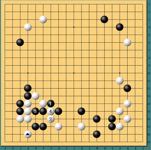 刘星黑棋早早下出1位虎的败着,实战白棋2位尖断,黑棋棋筋被吃,局势大差