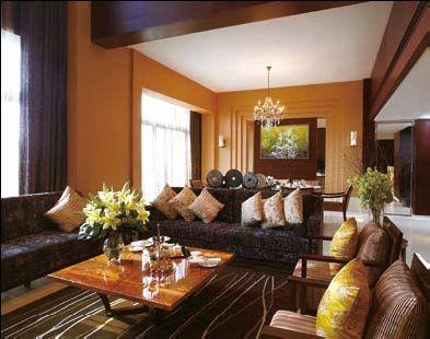 总统套一层的客厅宽敞大气,十分符合住客的身份。
