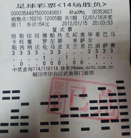 高手64元复式揽足彩133万 单挑尤文主场平局