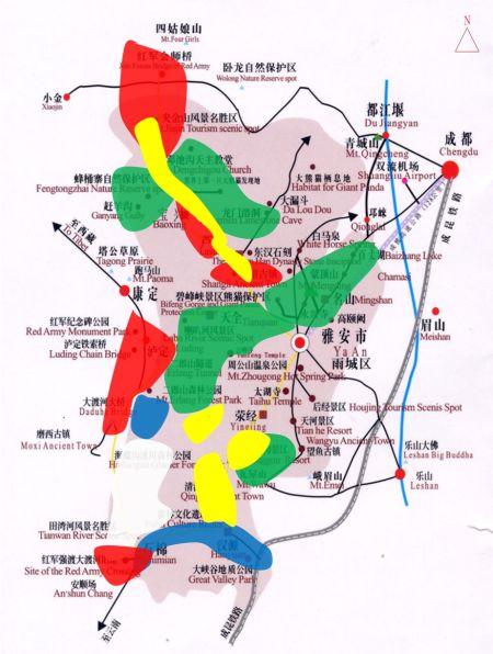 雅安风景区地图高清版
