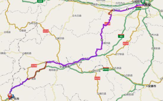 西安-广元骑行线路图。
