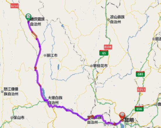 香格里拉县-昆明骑行线路图。