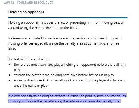 规则解释中对在禁区内继续拉对手判罚点球的解释