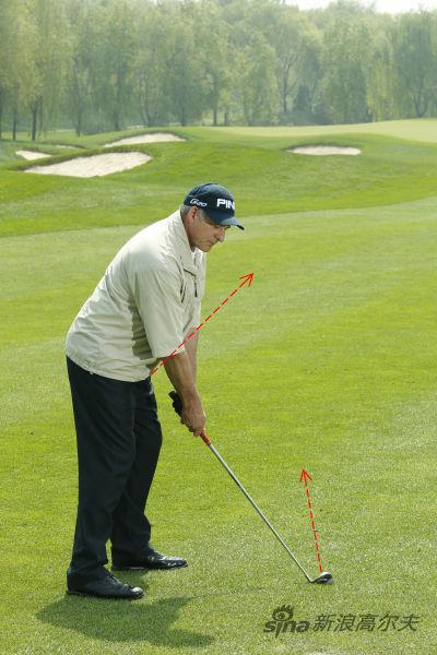 """图4:此时杆面相对于球的目标线""""闭合""""(向左),身体也相对于球的目标线""""闭合""""(向右)。"""