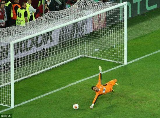 塞维利亚门将在扑点球时同样远离了球门线