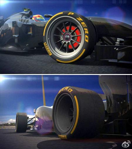 倍耐力公布的18英寸F1轮胎效果图,预计2017年实施。