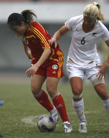 图文-[热身赛]中国4-0新西兰双方比拼脚下功夫