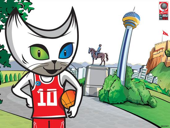 图文-2010年男篮世界锦标赛吉祥物可爱的白猫