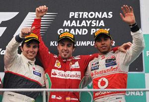 F1雪邦站雨中混战阿隆索夺冠佩雷兹亚军莱科宁第5