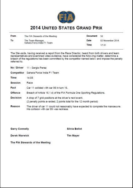 佩雷兹的罚单。