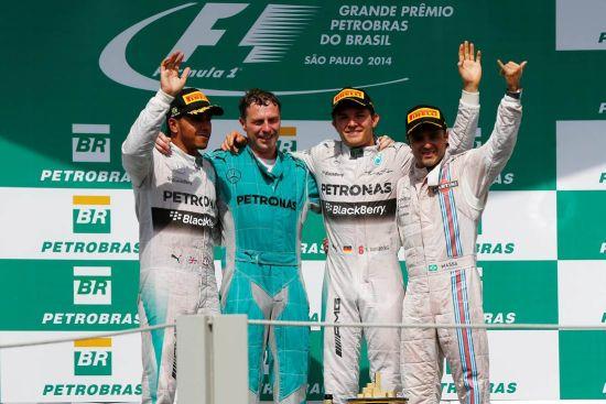 尼科•罗斯伯格(梅赛德斯)获F1巴西大奖赛冠军。