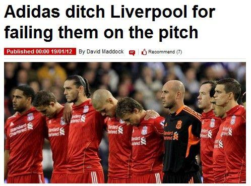 《镜报》截图:阿迪达斯遗弃利物浦