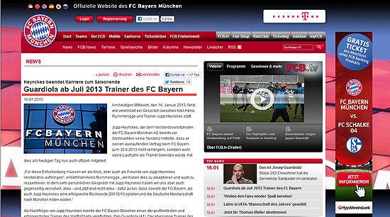 拜仁官方网站宣布瓜迪奥拉下赛季起执教拜仁(拜仁官网截屏图)