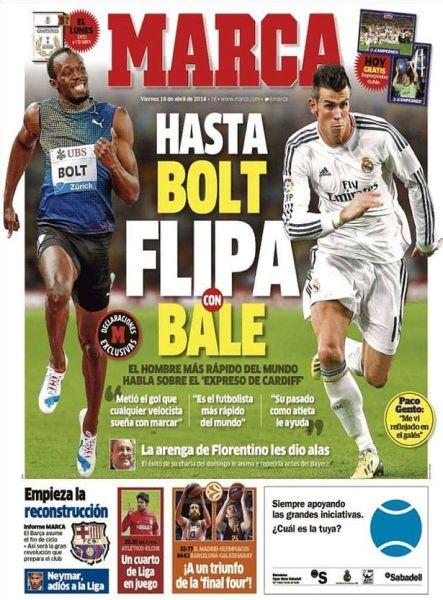 《马卡报》封面直接对比博尔特与贝尔