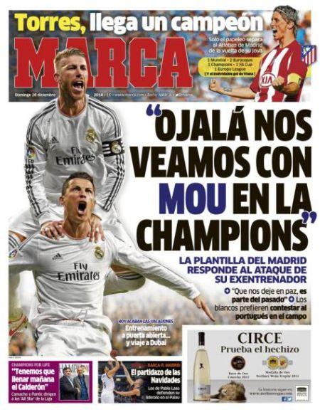 周日《马卡报》封面:我们欧冠想遇穆里尼奥