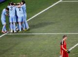 乌拉圭庆祝弗兰进球