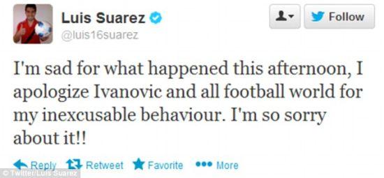 苏亚雷斯推特公开致歉