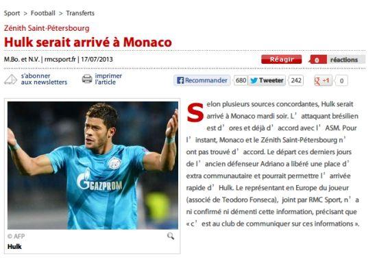 RMC Sport截屏:胡尔克已与摩纳哥达成一致
