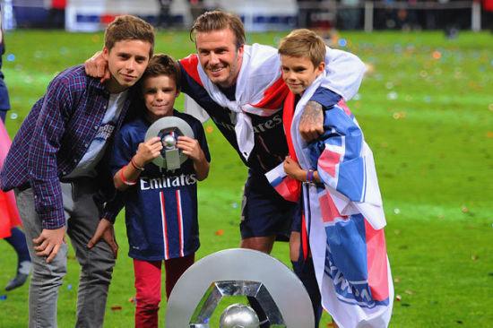 贝克汉姆和他的三个儿子