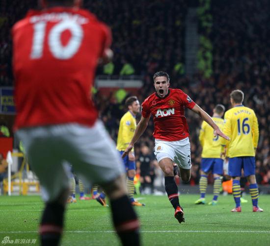 范佩西对阿森纳进球之后疯狂庆祝