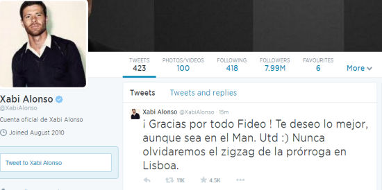 阿隆索推特祝福迪马利亚在曼联顺利
