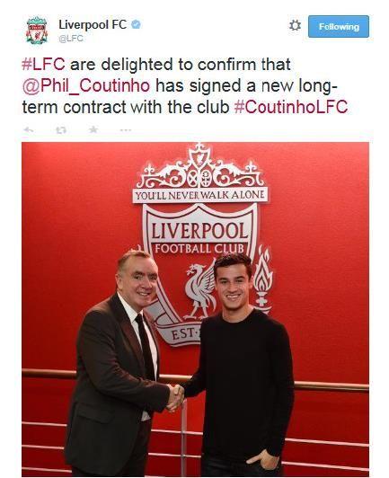 利物浦官方宣布续约库蒂尼奥