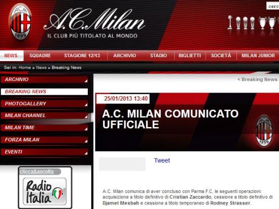 AC米兰官方宣布扎卡尔多加盟(AC米兰官网截图)
